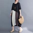 大碼洋裝 2021年夏季新款女裝寬鬆拼接拼色棉麻連身裙女拼色潮時尚 維多原創