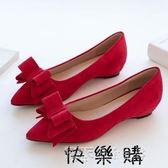 新娘鞋婚鞋女平底新款春季女鞋內增高尖頭淺口紅色蝴蝶結單鞋 探索先鋒