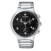 CITIZEN 星辰 光動能藍寶石鏡面計時腕錶  AT2400-81E   黑