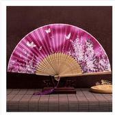 折扇扇子古風女日式小復古布夏季和風跳舞舞蹈折疊古典古裝