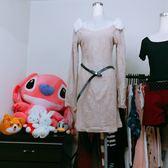 ★現貨★OL修身洋裝 毛毛裝飾 圈圈絨 腰帶 長袖連身裙【現貨】【星品時尚】