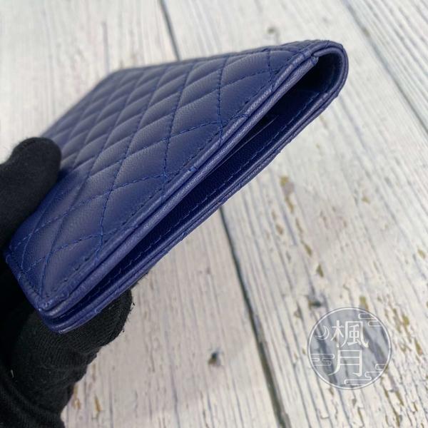 BRAND楓月 CHANEL 香奈兒 15開 藍色 格紋 皮革 經典 山茶花 護照套 護照夾 配件