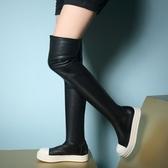真皮過膝靴-時尚拼色圓頭百搭平底女長靴73iv10【時尚巴黎】