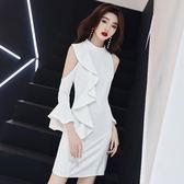 618年㊥大促 白色晚禮服裙女2019新款宴會高貴短款冬裝顯瘦名媛洋裝小禮服秋裝