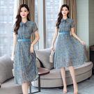 VK精品服飾 韓系氣質雪紡裙子修身大擺碎花長版短袖洋裝