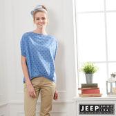 【JEEP】女裝 點點造型短袖襯衫-藍