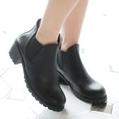 短靴.MIT經典彈性素色平底短靴.白鳥麗子