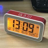 聖誕節交換禮物-智能夜光小鬧鐘學生創意usb充電電子鐘貪睡靜音床頭鐘錶音量可調