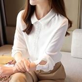 長袖襯衫.秋季韓版白色雪紡襯衫女長袖外穿百搭垂感娃娃領上衣氣質職業T528依佳衣