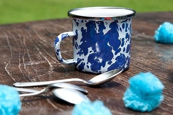 Wind & Whisper 南洋琺瑯 咖啡雙杯組(潑墨碧海)