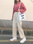 褲子女韓版寬鬆百搭高腰學生闊腿休閒九分褲子女直筒 青木鋪子
