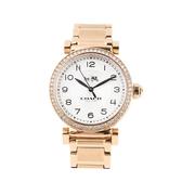 COACH 馬車 LOGO懷舊時尚不鏽鋼帶女錶腕錶32mm(14502398 玫瑰金)