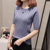 春裝女韓版新款潮冰絲T恤薄款短袖五分袖針織上衣中袖打底衫