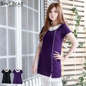 洋裝--簡約素雅層次感裝飾配色線衣領下擺拼接設計洋裝(黑.紫XL-5L)-D347眼圈熊中大尺碼★