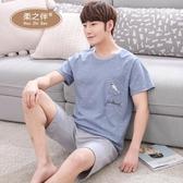 夏季男士睡衣純棉短袖短褲家居服全棉薄款青少年大碼外穿套裝 居享優品
