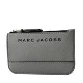 美國正品 MARC JACOBS 黑色LOGO防刮皮革鑰匙零錢包-墨灰【現貨】