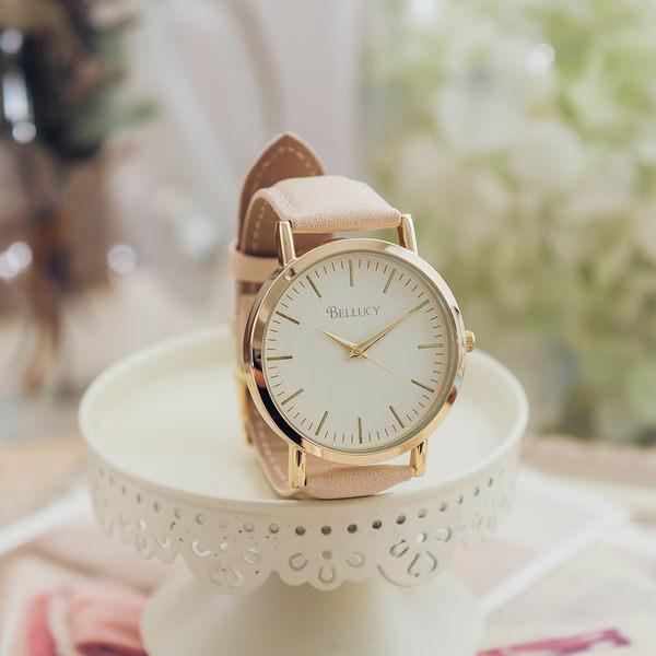 BELLUCY 無印簡約女孩女錶-米白 日本進口 飾品