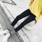 內搭長褲 秋季螺紋腳口女外穿條紋拼接小腳褲純棉彈力九分褲