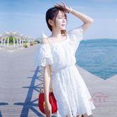 一字領平口洋裝 甜美一字領露肩抹胸沙灘裙夏季小清新荷葉邊蕾絲連身裙S-2XL 中元節禮物