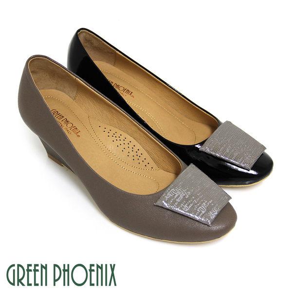 U28-20548 女款山羊皮楔型包鞋   典藏絕品義大利進口山羊皮楔型包鞋【GREEN PHOENIX】BIS-VITAL