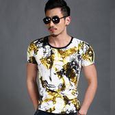 短袖T恤男 韓版潮流 休閒上衣 個性創意歐美色彩圖案印花T恤男短袖圓領純棉潮流男wx3399