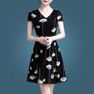 夏季洋裝女時尚短袖2021新款女裝修身韓版薄紗透氣短袖雪紡 快速出貨