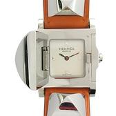 HERMES 愛馬仕 銀色鉚釘掀蓋式橘色牛皮石英腕錶 Medor ME3.210 【BRAND OFF】