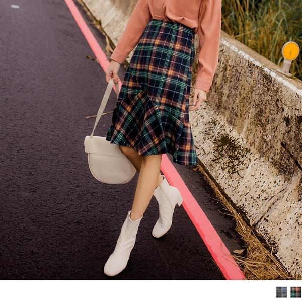 《CA1768》英倫風大格紋毛料後拉鍊魚尾裙 OrangeBear