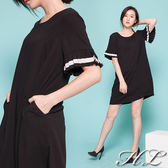 .HL超大尺碼.【16040086】簡約黑白百摺荷葉袖洋裝 1色