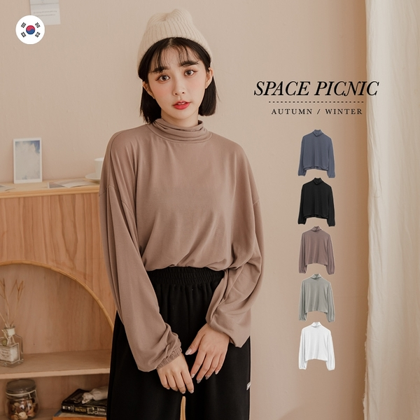 長袖 上衣 Space Picnic|正韓-素面高領微透澎袖上衣(現貨)【K21012012】