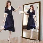 法式復古洋裝洋裝女2020新款夏季長款顯瘦繫帶連身裙子