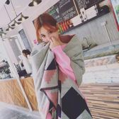 圍巾 韓版百搭格子仿羊絨超大披肩兩用長款加厚保暖粉色
