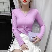 新品特價 冰絲針織衫女秋季薄款修身百搭交叉扭結露臍長袖打底衫上衣潮