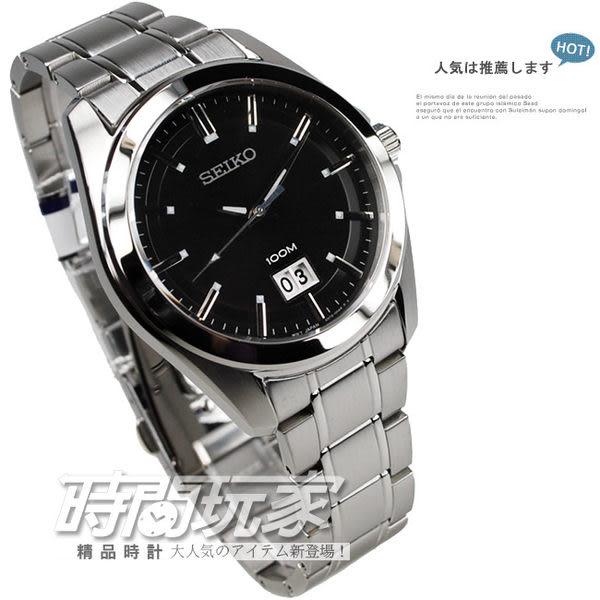 SEIKO精工錶 公司貨 黑面 日期41 mm 不銹鋼 防水100M藍寶石水晶男錶 SUR009P1-6N76-00A0D