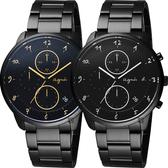 agnes b. 法國時尚三眼計時對錶-40mm VD57-KY30G+VD57-KY30SD (BM3019J1+BM3018J1)