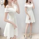 平口洋裝/一字領 禮服裙子平時可穿氣質小清新a字裙露肩白色鎖骨一字肩連身裙夏季