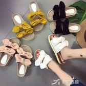 露趾厚底一字拖鞋女夏季新款韓版蝴蝶結軟底外穿沙灘涼拖鞋子 樂芙美鞋
