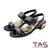 【↘5 折】TAS 水鑽金屬後跟一字涼鞋-個性黑