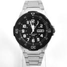 CASIO手錶 黑色軍裝銀帶鋼錶NECE8