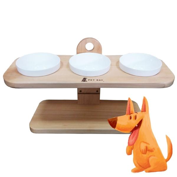 【毛小孩嚴選】A3215 可調式原木碗架 三口(陶瓷碗X3) 寵物碗架 貓狗碗架 寵物碗 寵物餐桌