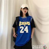 背心 夏韓國ins原宿bf風街頭嘻哈復古印花寬鬆休閒籃球背心假兩件T恤 魔方數碼館