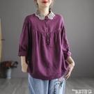棉麻上衣 復古文藝蕾絲娃娃領襯衫女秋裝大碼寬鬆減齡棉麻休閒娃娃衫上衣潮 曼慕