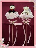 一定要幸福哦~~甜蜜玫瑰熊花棒~~、婚禮小物、二次進場、送客禮