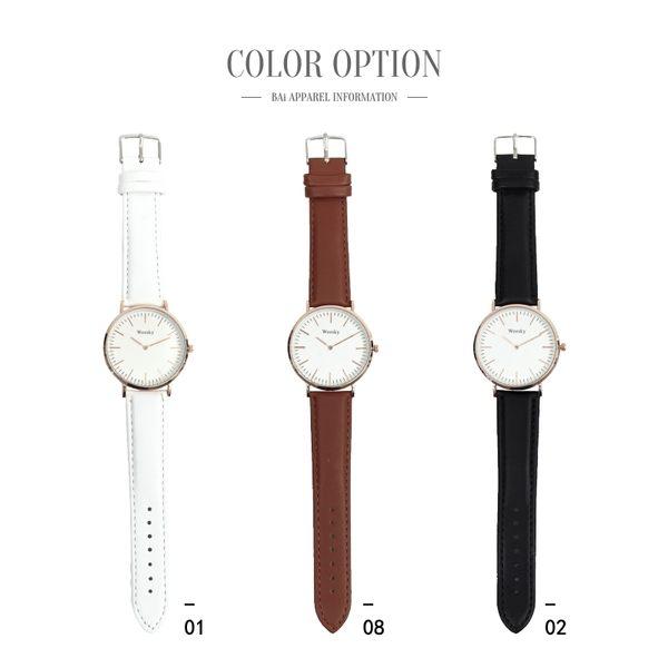 手錶 玫瑰金刻度大圓框皮革圓錶-BAi白媽媽【150779】
