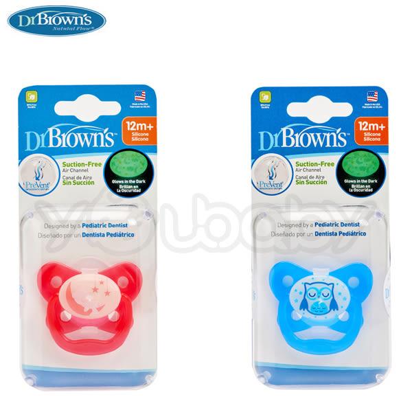 布朗醫生Dr. Brown's PreVent 功能性夜光安撫奶嘴 12+月-二入裝