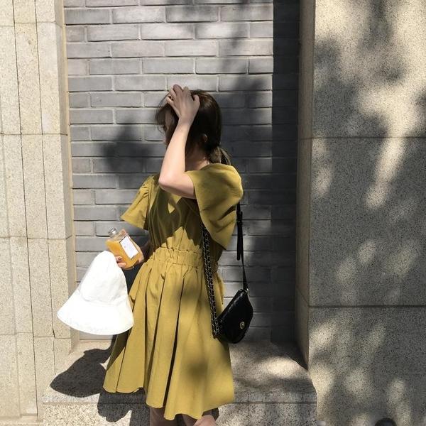 夏季新款氣質短袖露背連身裙韓版方領收腰顯瘦短裙女