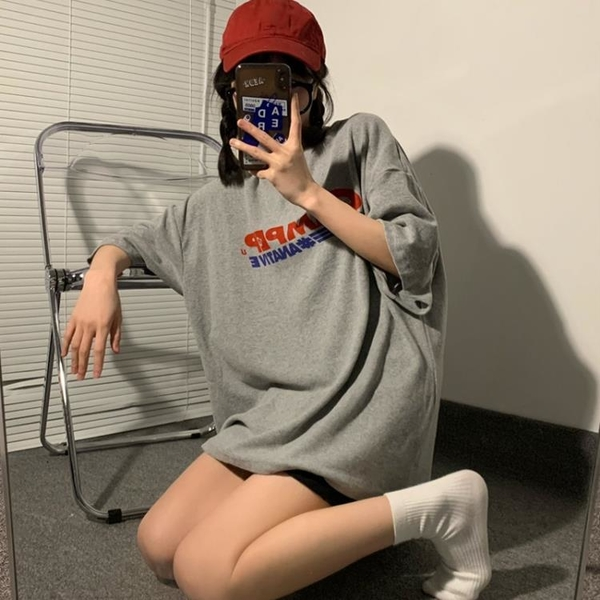 原宿風短袖T恤女裝夏季新款韓風chic寬松灰色半