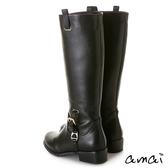 amai西部風金屬釦飾拉鍊工程長靴 黑
