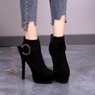 12cm秋冬女靴 2020新款靴子 防水台超高跟女鞋 細跟短靴馬丁靴33小碼 降價兩天