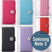 SAMSUNG 三星 Note 5 小羊皮山茶花皮套 插卡 側翻 手機套 手機殼 保護套 配件